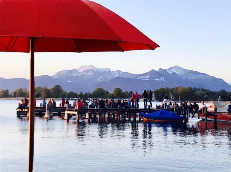 Steg-Sundowner am Chiemsee