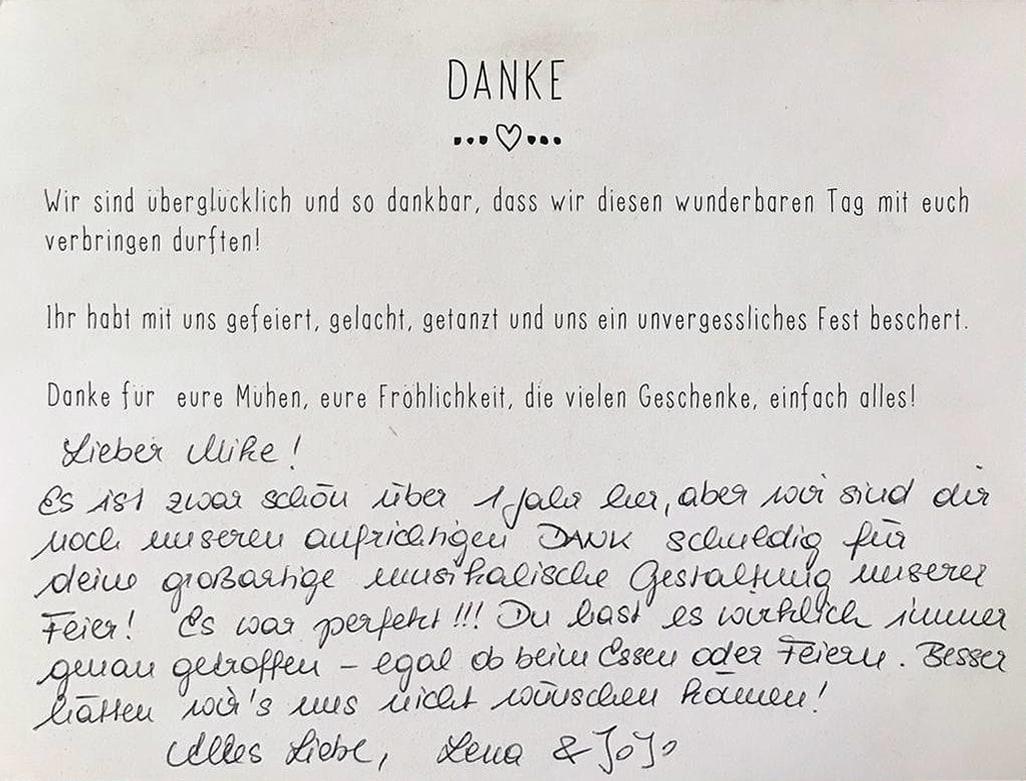 Dankeskarte für Hochzeits-DJ Mike Lindström